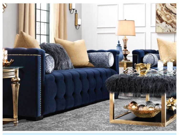 Subscribe To My Youtube Channel Khanieces Korner Blue Living Room Decor Blue Furniture Living Room Blue And Gold Living Room