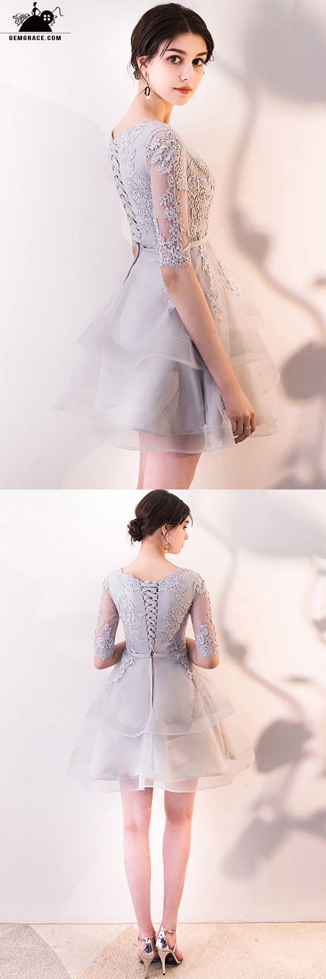 55f599750ba Grey Aline Lace Ruffled Short Homecoming Dress with Sleeves ...