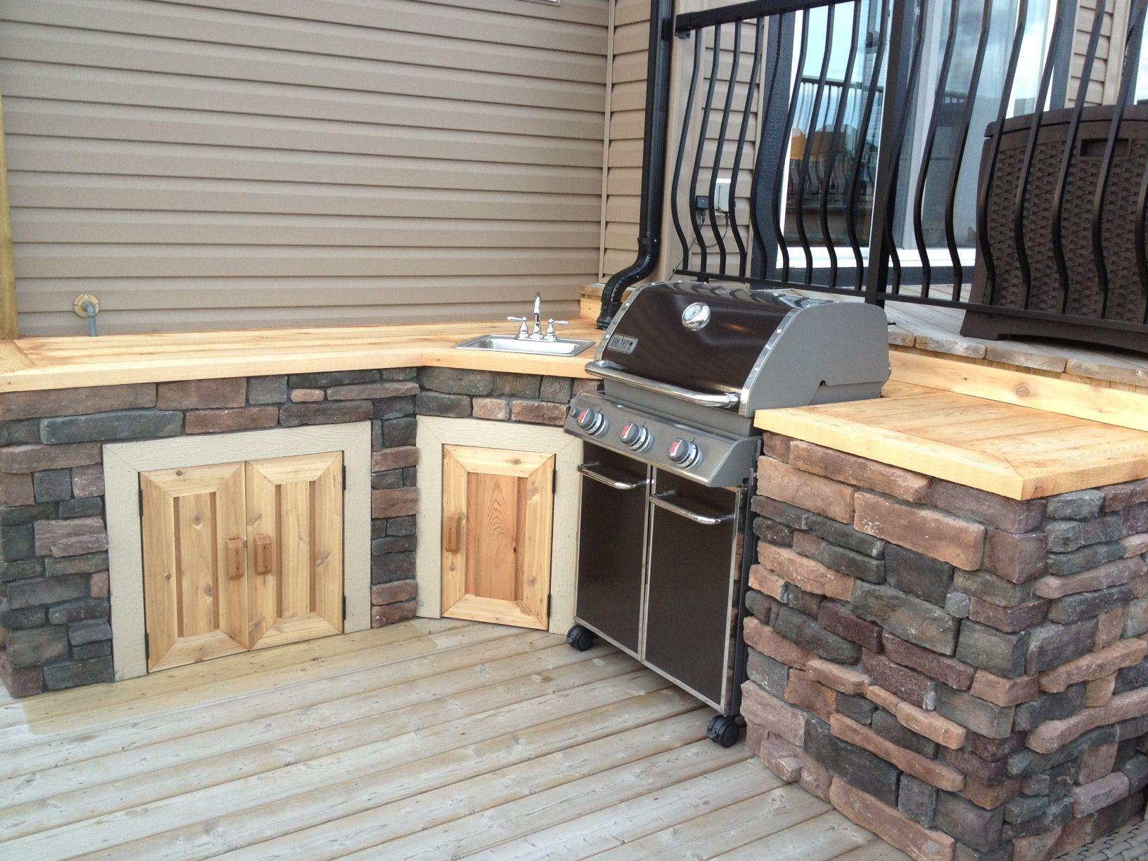 outdoor kitchen with cedar cultured stone www thelittledecker ca outdoor kitchen wood deck on outdoor kitchen on deck id=85705