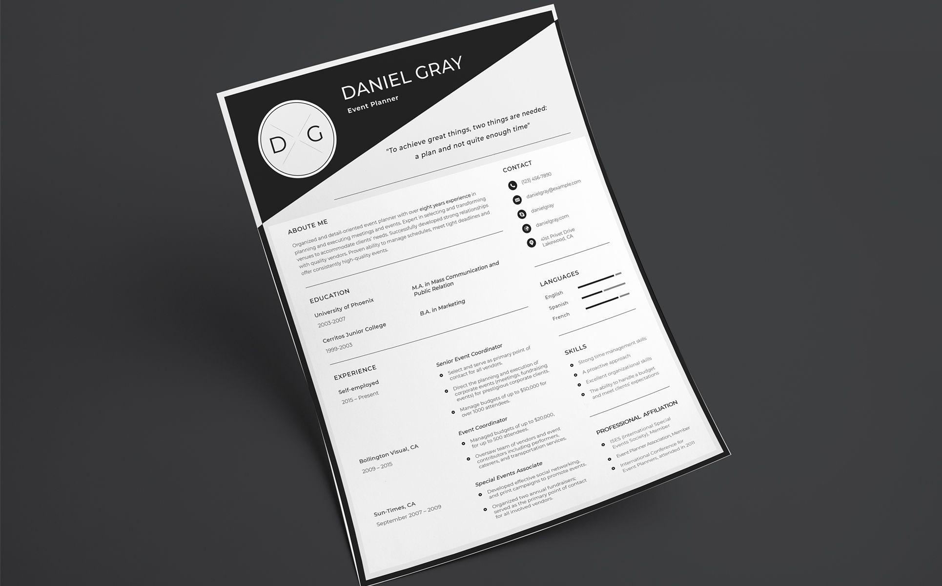 Daniel gray event planner resume template 66457 event
