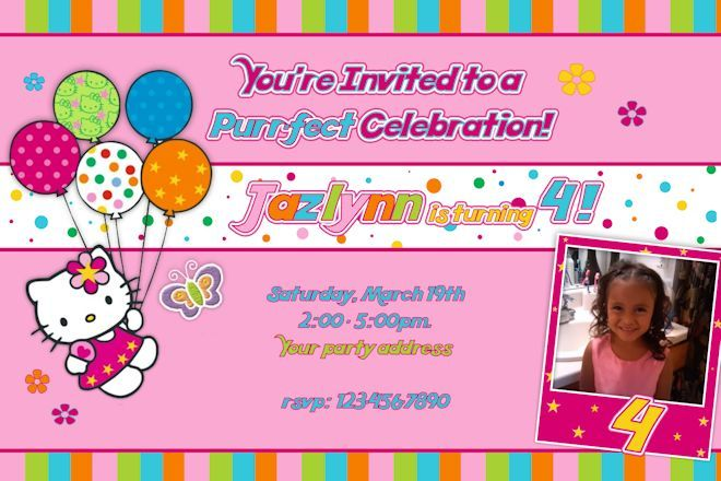 Download Now Hello Kitty Photo Birthday Invitations – Personalized Hello Kitty Birthday Invitations