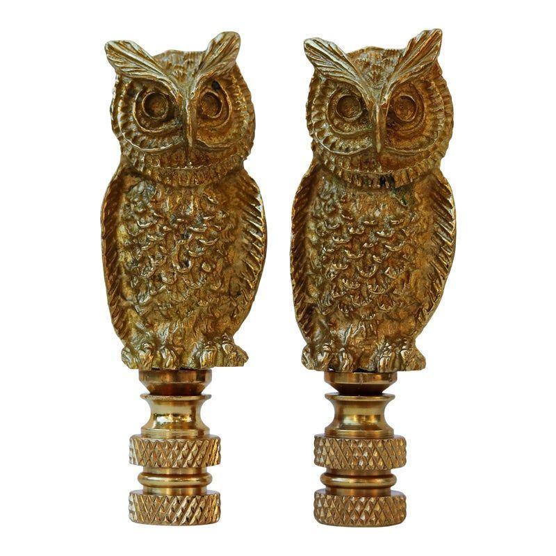 Brass Owl Lamp Finials A Pair In 2020 Owl Lamp Brass Lamp Shades