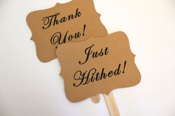 THANK YOU Just Hitched wedding photo props by sugarplummoose, $9.00