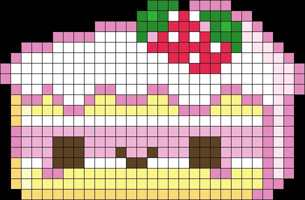 Kawaii Cake Perler Bead Pattern | Bead Sprites | Food Fuse