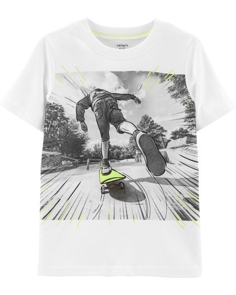 408f58ea3 Carter's Boys Round Neck Short Sleeve Graphic T-Shirt Preschool / Big Kid -  JCPenney. Skateboarding Graphic Jersey Tee