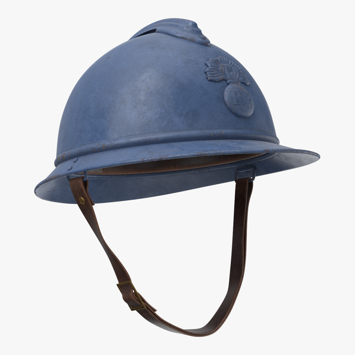3d French M15 Adrian Helmet Armor French M15 Wwi World War Steel Army Soldier Battle People France Blue Paint Pbr Army Helmet Helmet Armor Helmet