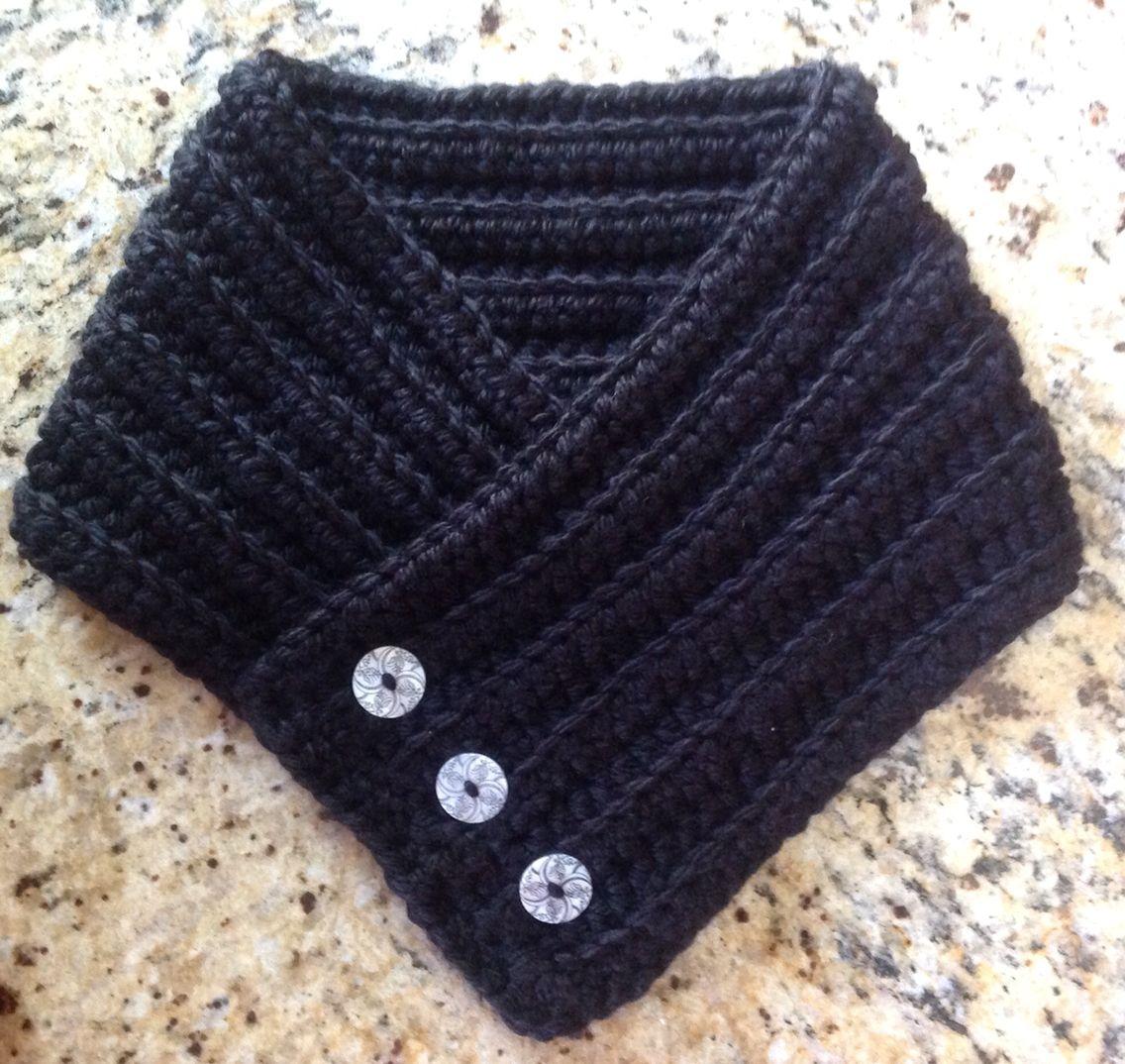 Crochet cowl scarf black