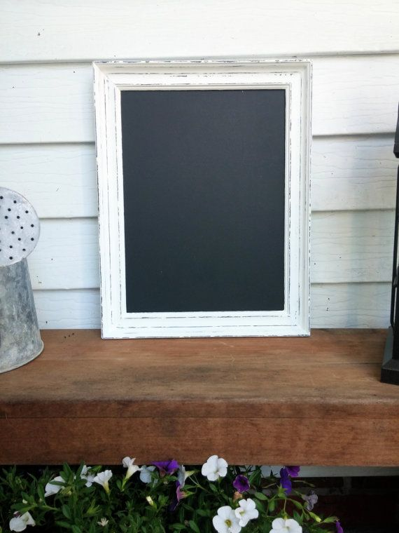 distressed white framed chalkboard rustic by chalkativeexpression - White Framed Chalkboard