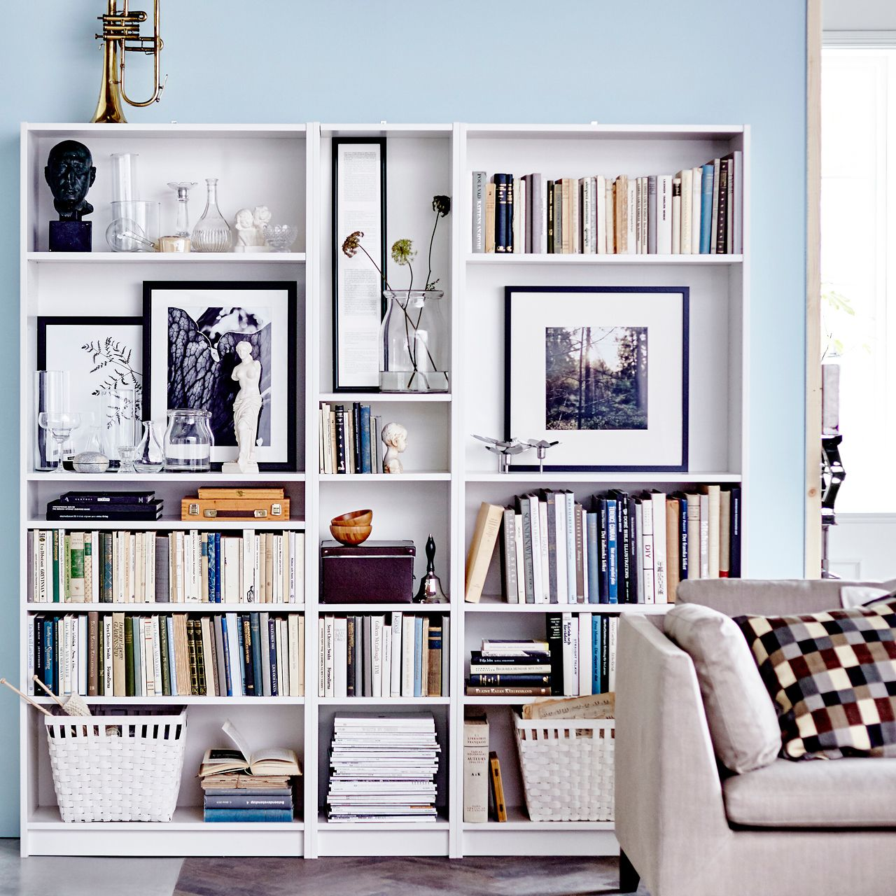 ikea billy bookcase leave an extra wide shelf at shoulder. Black Bedroom Furniture Sets. Home Design Ideas