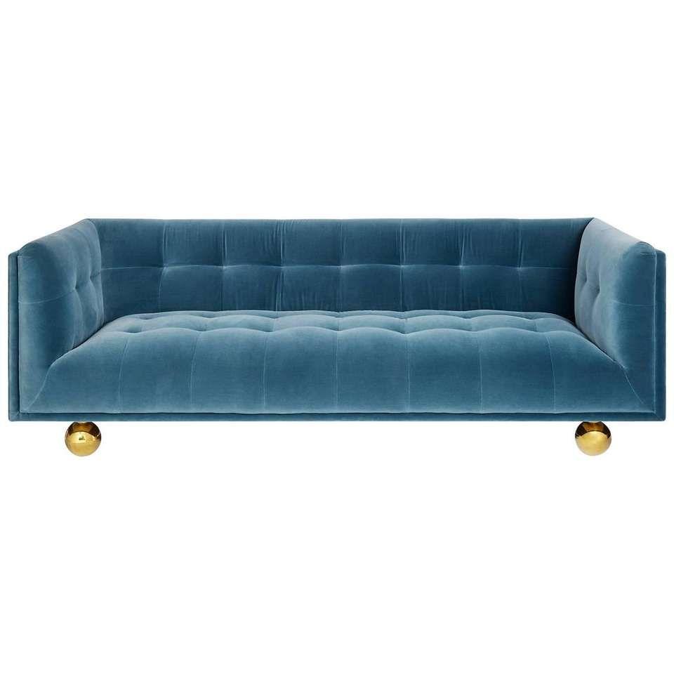 Claridge Modern Chesterfield Sofa In French Blue Velvet 1