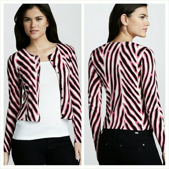 Diane von furstenberg zebra cardigan Pink, black, and white zebra printed cardigan. Good condition and super adorable. $245 retail Diane von Furstenberg Sweaters Cardigans