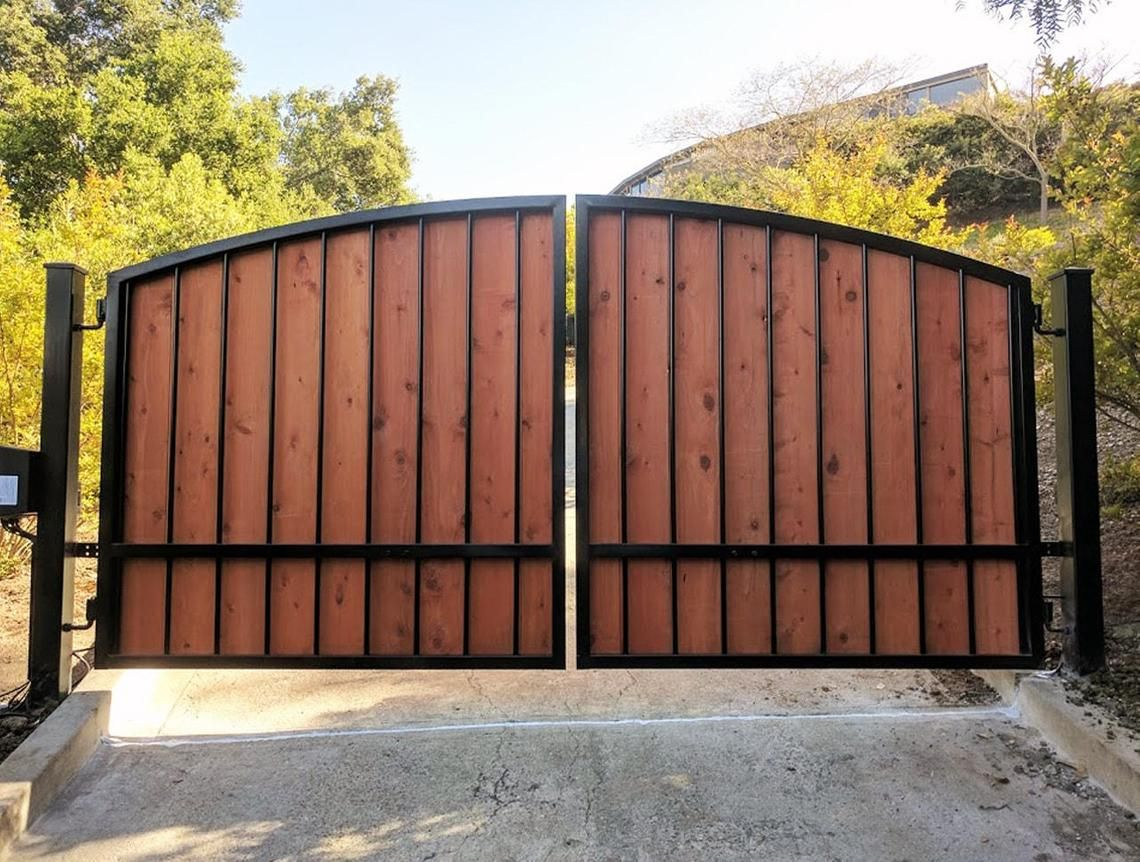 Electric Gate Kits >> Custom Automatic Wrought Iron Redwood Swing Arched Driveway