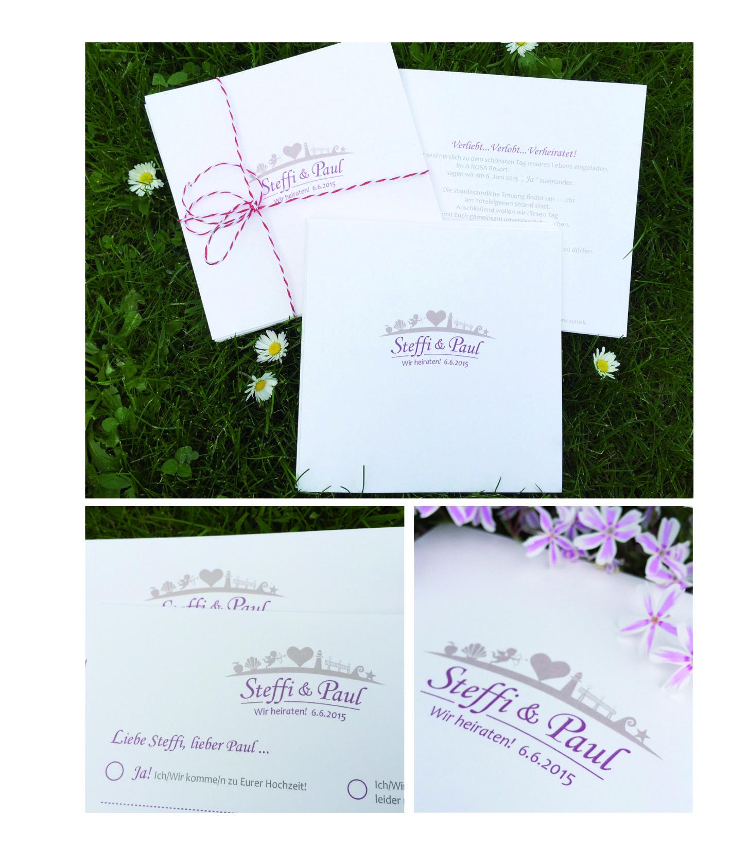 Wedding _ Einladung mit Antwortkarte im individuellen ganz persönlichen Design mit Hochzeitslogo _ quadratisch _weiter Papeterie ist in Arbeit _