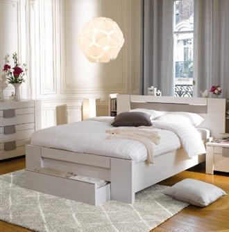 lit led 160x200 cm moka coloris fr ne blanchi meubles pas cher pinterest moka conforama. Black Bedroom Furniture Sets. Home Design Ideas