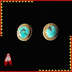 STUNNING Turquoise Nugget Native American Indian earrings