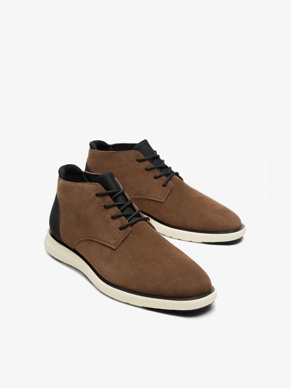 Zapatos marrones con velcro estilo militar para hombre gq6S5yJ