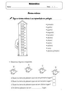 Matematica Nome Data Numeros Ordinais Liga Os N