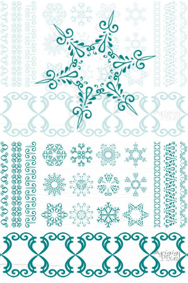 snowflakes clipart matching borders, Christmas clip art digital