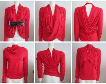 Women Cardigan Convertible Multi style wrap knit jersey cardigan ...