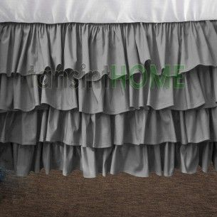 multi-layered ruffle egyptian cotton silver grey bed skirt= not big on dust ruffles but I do like this one.