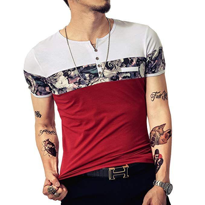 02b1ef67075 LOGEEYAR Men s Casual Slim Fit Short Sleeve Color Block Printing Henley T- Shirts (Small