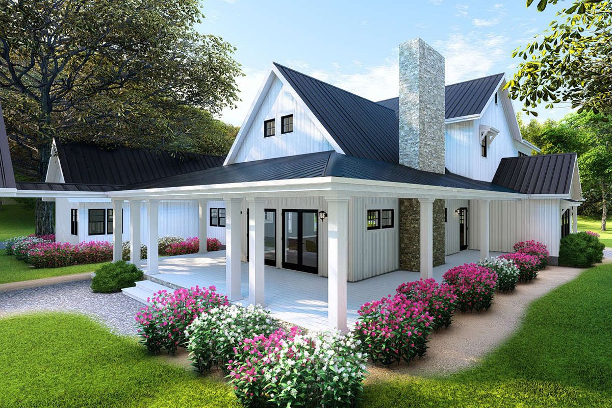 House Plan 8318 00103 Modern Farmhouse Plan 3 342 Square Feet 4 Bedrooms 3 5 Bathrooms Modern Farmhouse Plans Brick Exterior House Farmhouse Style House