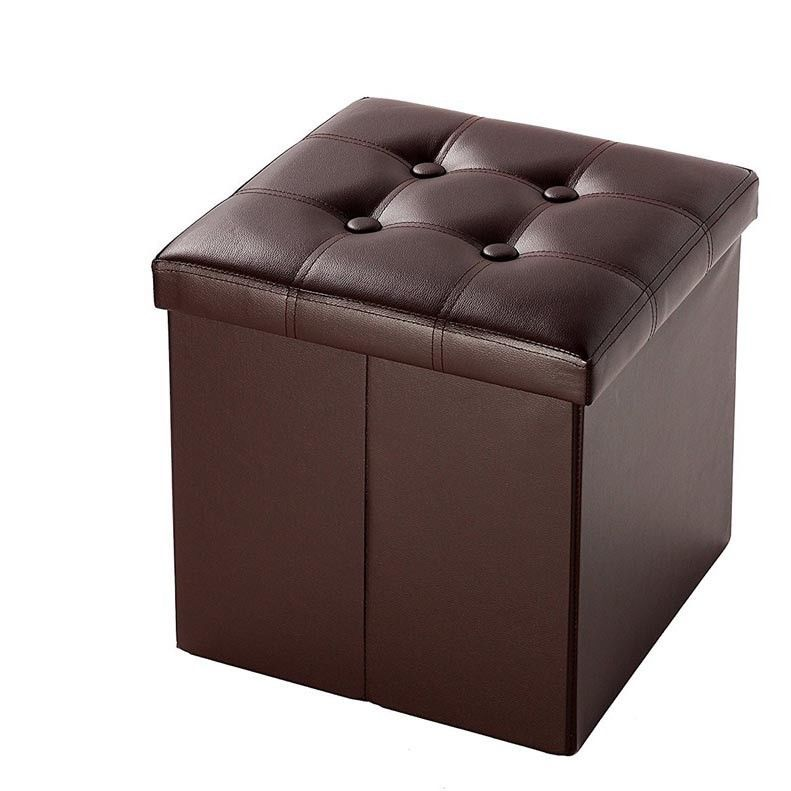 Faux Leather Folding Storage Ottoman Bench Collapsible Footrest Seat Brown New Unbranded Mo Leather Storage Ottoman Folding Storage Ottoman Leather Footstool