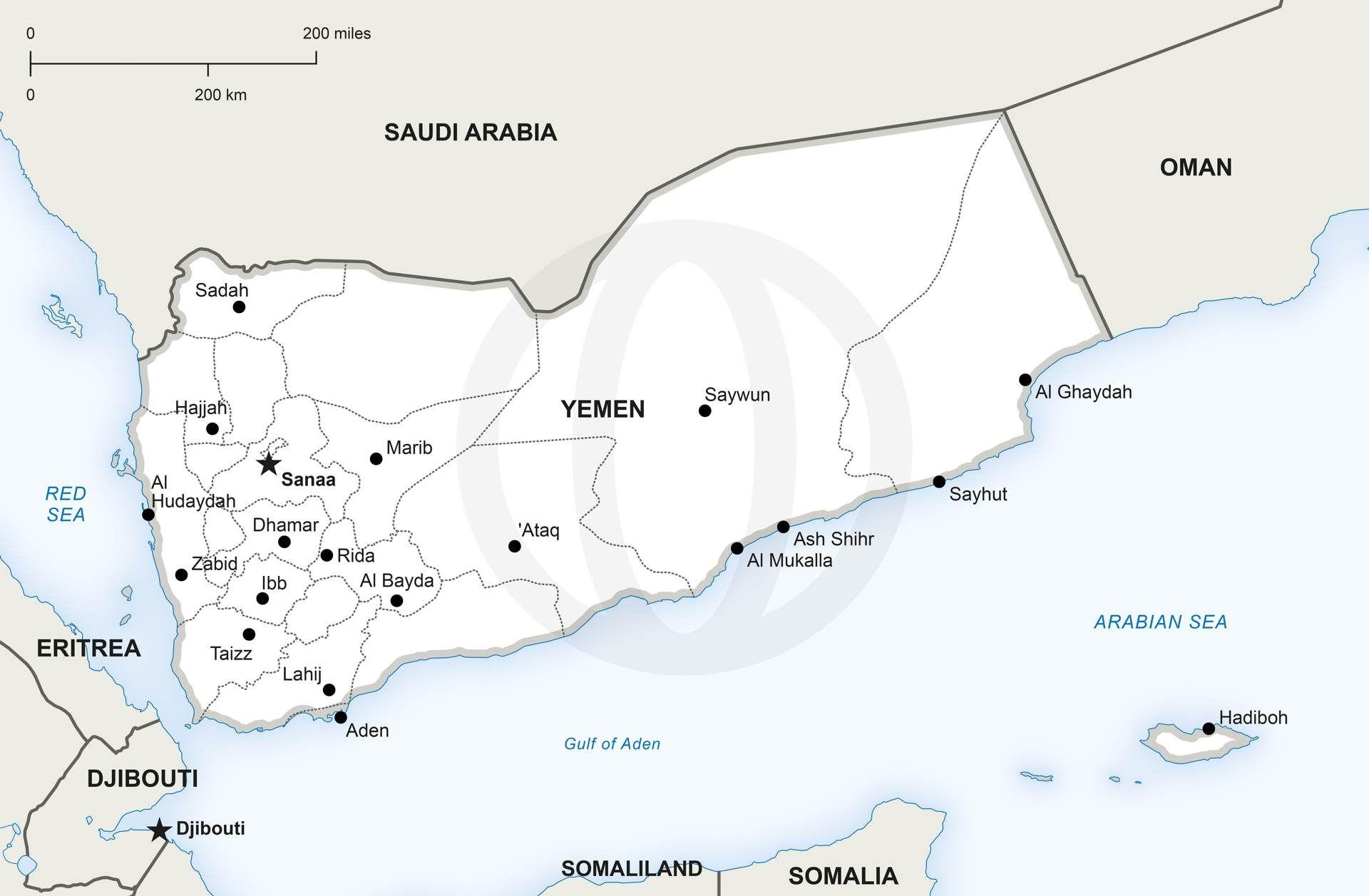 Vector Map of Yemen Political