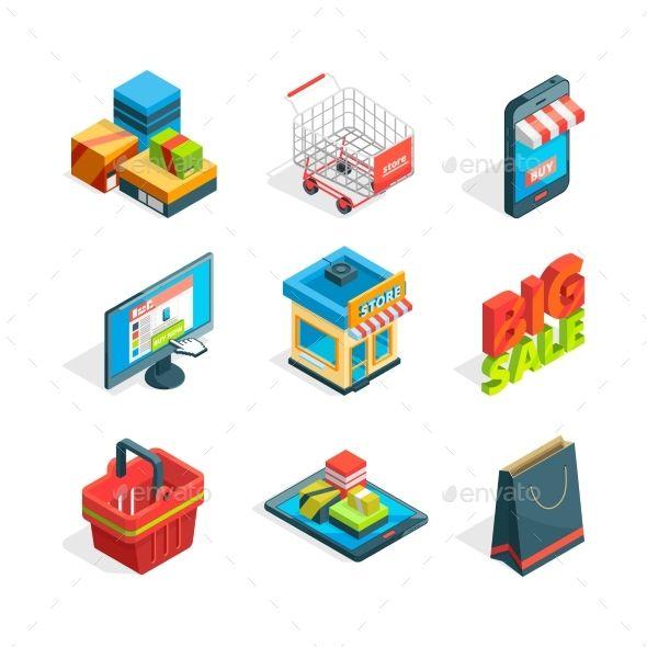 Isometric Icon Set Of Online Shopping Symbols Of Ecommerce Buying