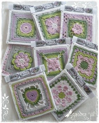 Sandra *Jill*: Frühlings Grannies.  I'm a sucker for modern-looking grannies in soft colors.  These are for inspiration only as I don't think there are patterns available.  pjc