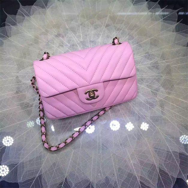 16b4913da88d Chanel Small Grained Calfskin Chevron Classic Flap Bag Royal pink 2016 in  price 230usd