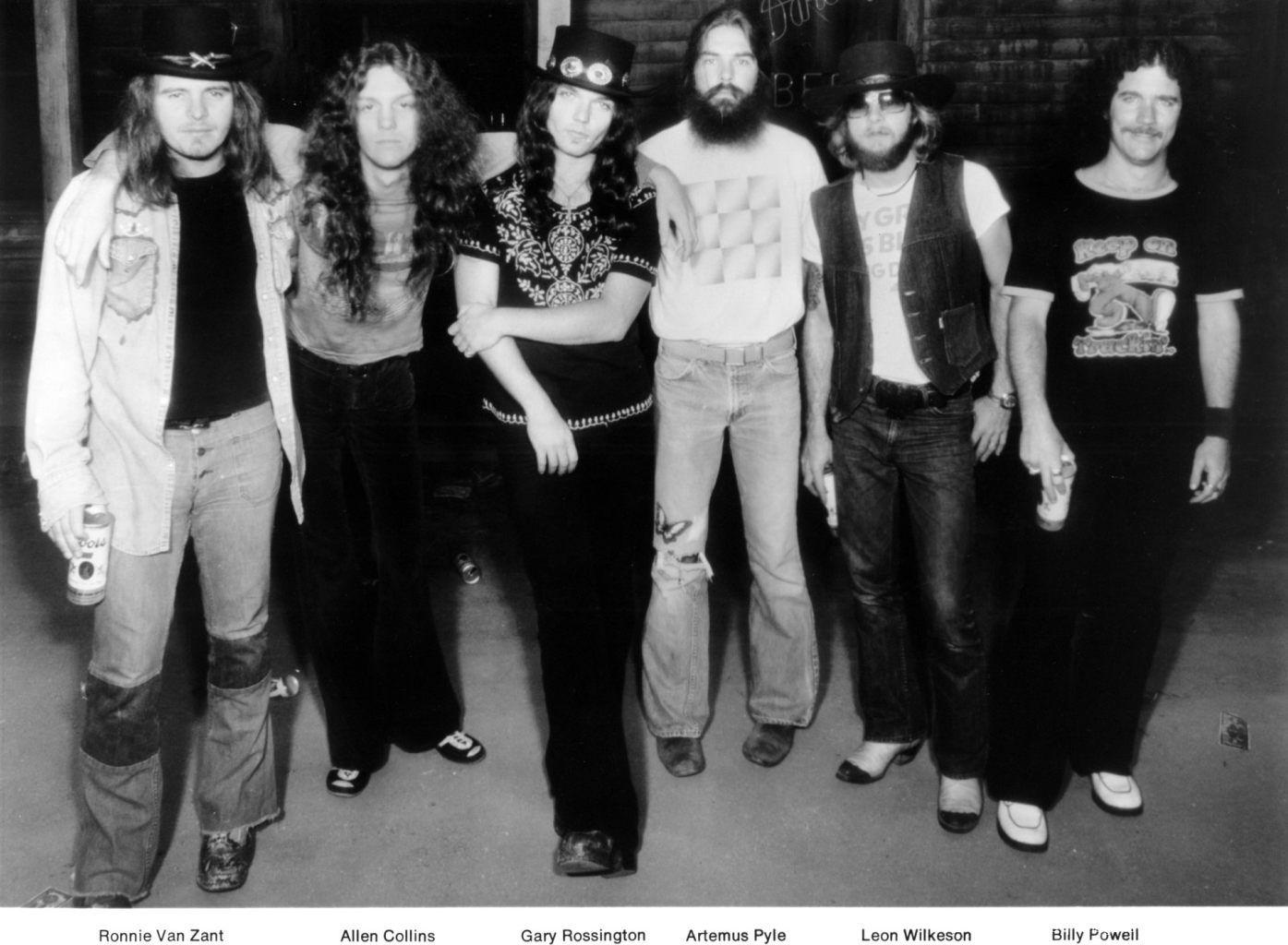 1976: Lynyrd Skynyrd (L-R Ronnie Van Zandt, Allen Collins, Gary Rossington, Artimus Pyle, Leon Wilkeson and Billy Powell) pose for a portrait in 1976.
