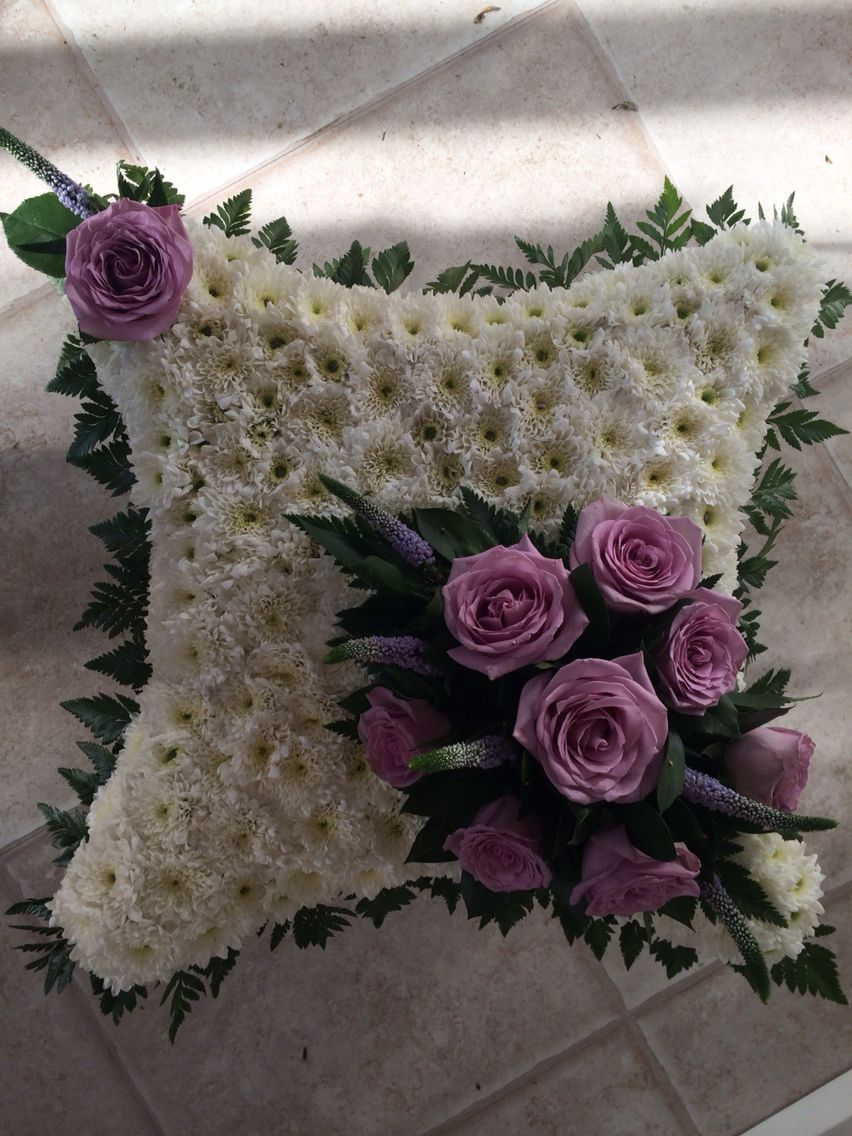 Based Cushion Funeral Tribute Lilac Roses Flowers By Lily White