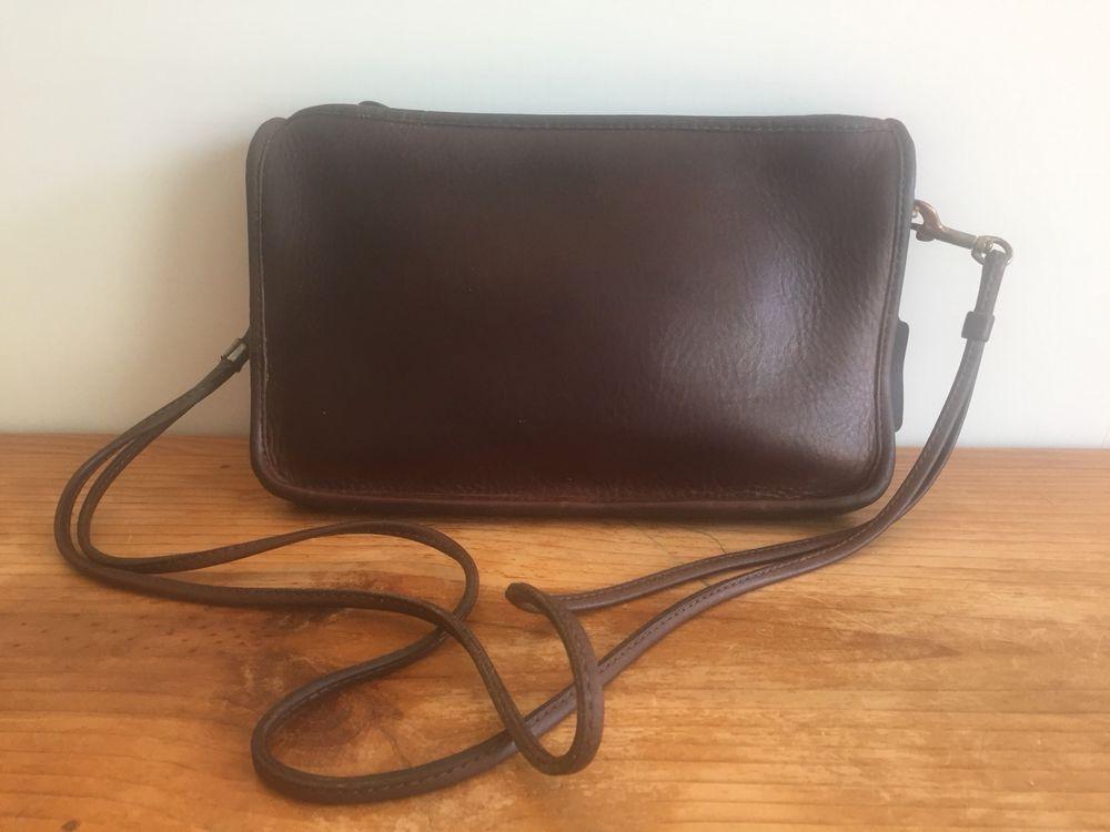 Coach chocolate brown leather clutch crossbody 3647210
