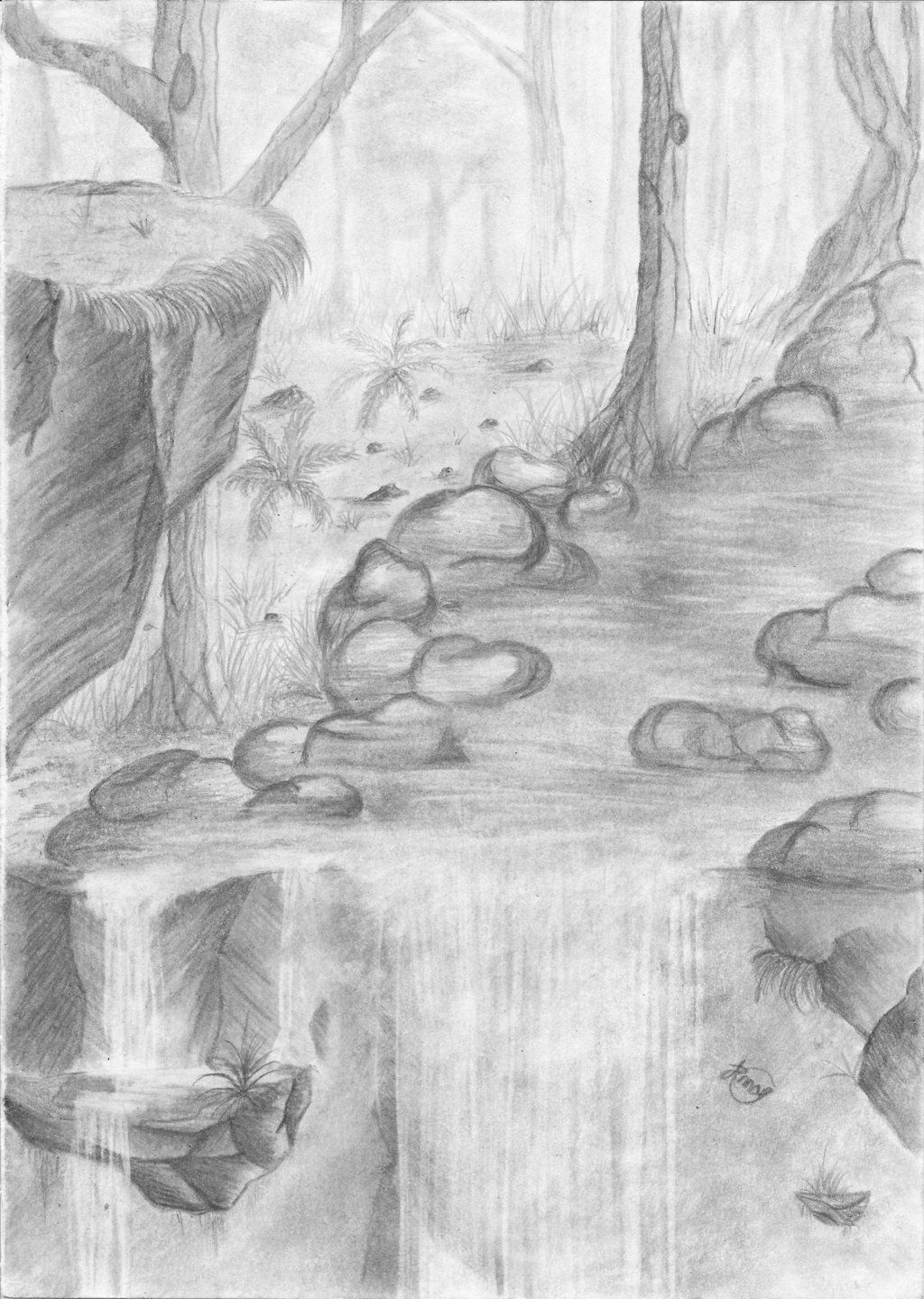 Image Result For Easy Pencil Landscape Drawings Paintings Simple Landscape Pencil Drawings Waterfall Drawing Nature Sketches Pencil
