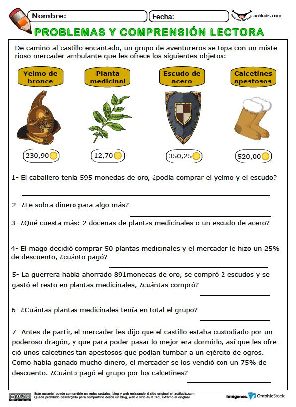Problemas y comprensión lectora II - Actiludis | Matemáticas ...