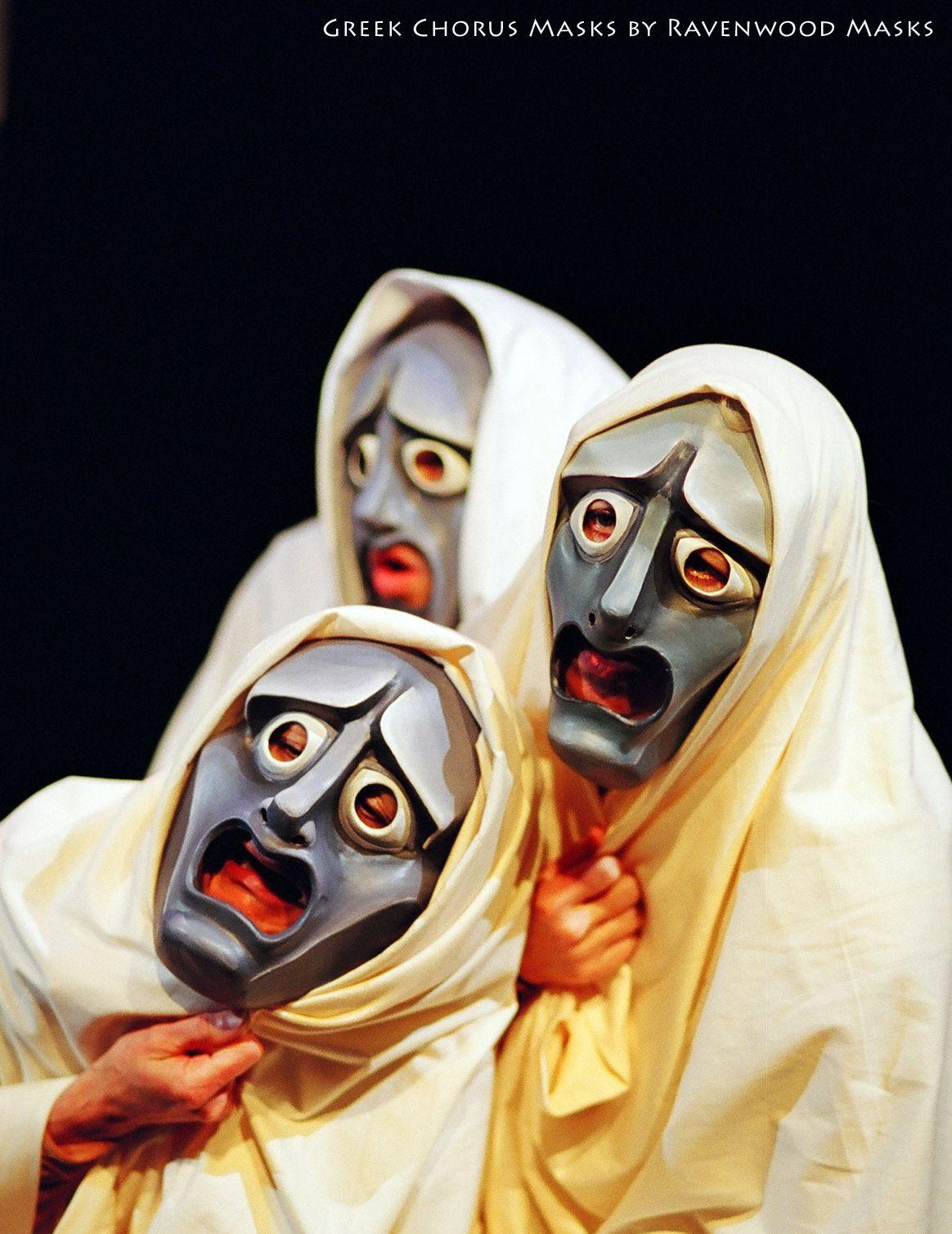 Greek theatre tragedy chorus masks by Alyssa Ravenwood  http://www.ravenwoodmasks.