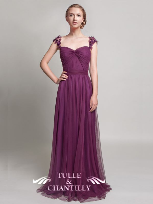 Elegant Long Bridesmaid Dress with Floral Straps TBQP327 | Damas ...