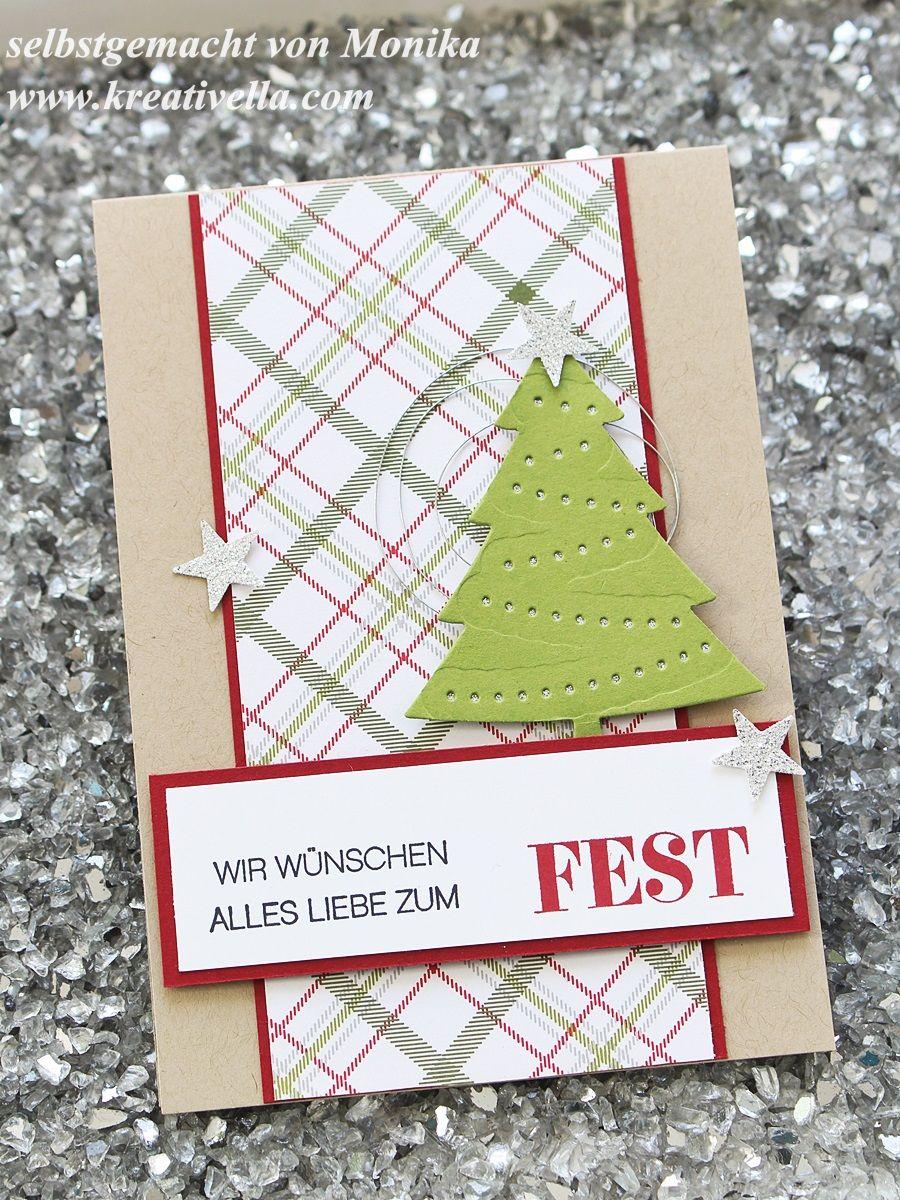Winterliche Weihnachtsgrüße.Selbstgebastelte Weihnachtskarte Schnell Und Einfach O Tannenbaum