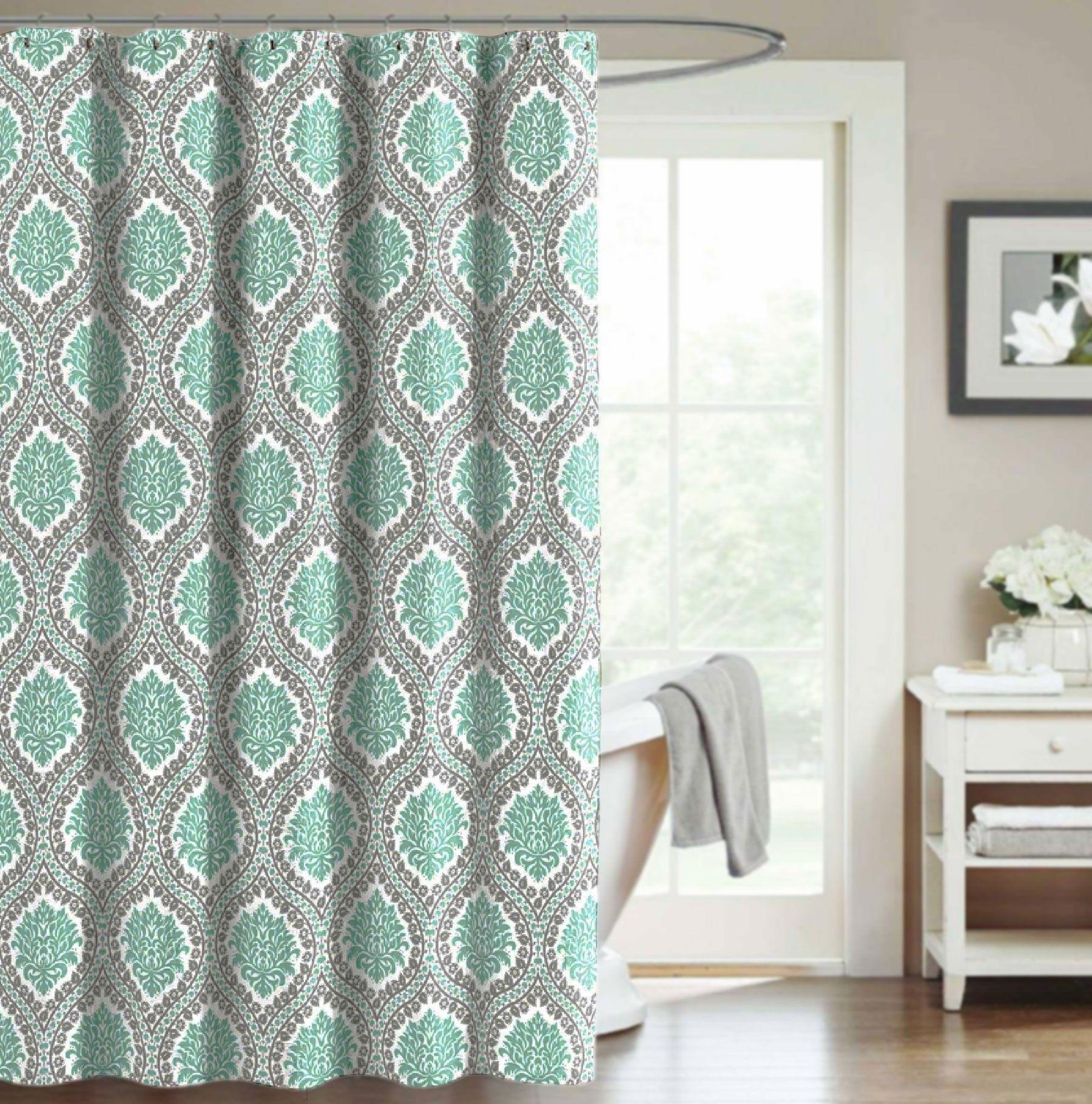 Crest Home Bellavista Fabric Shower Curtain Teal Gray Medallion ...