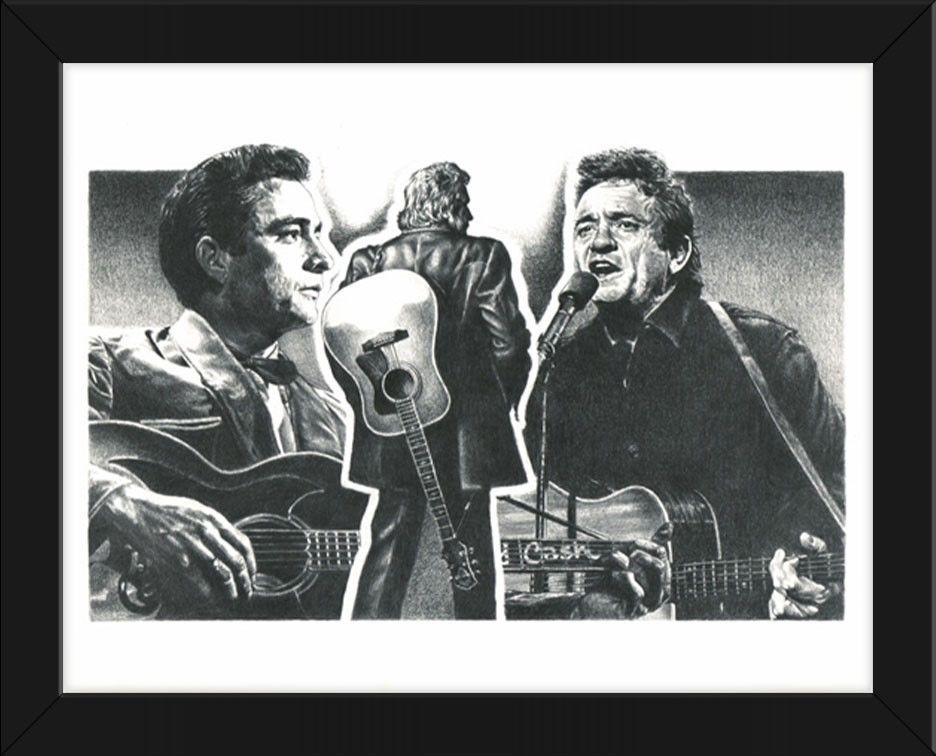22.5x17.5 Sketch Poster Johnny Cash Drawing Framed or Un-Framed ...