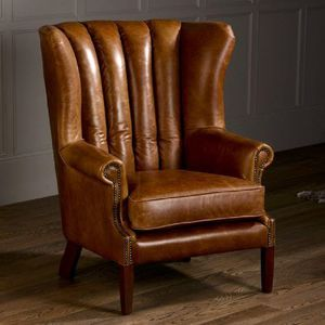 vintage italian leather fluted wing armchair furniture wingback