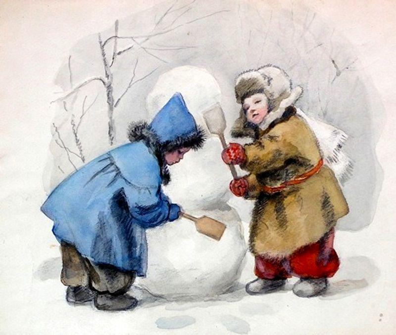 Рисунок детки зимой советский союз