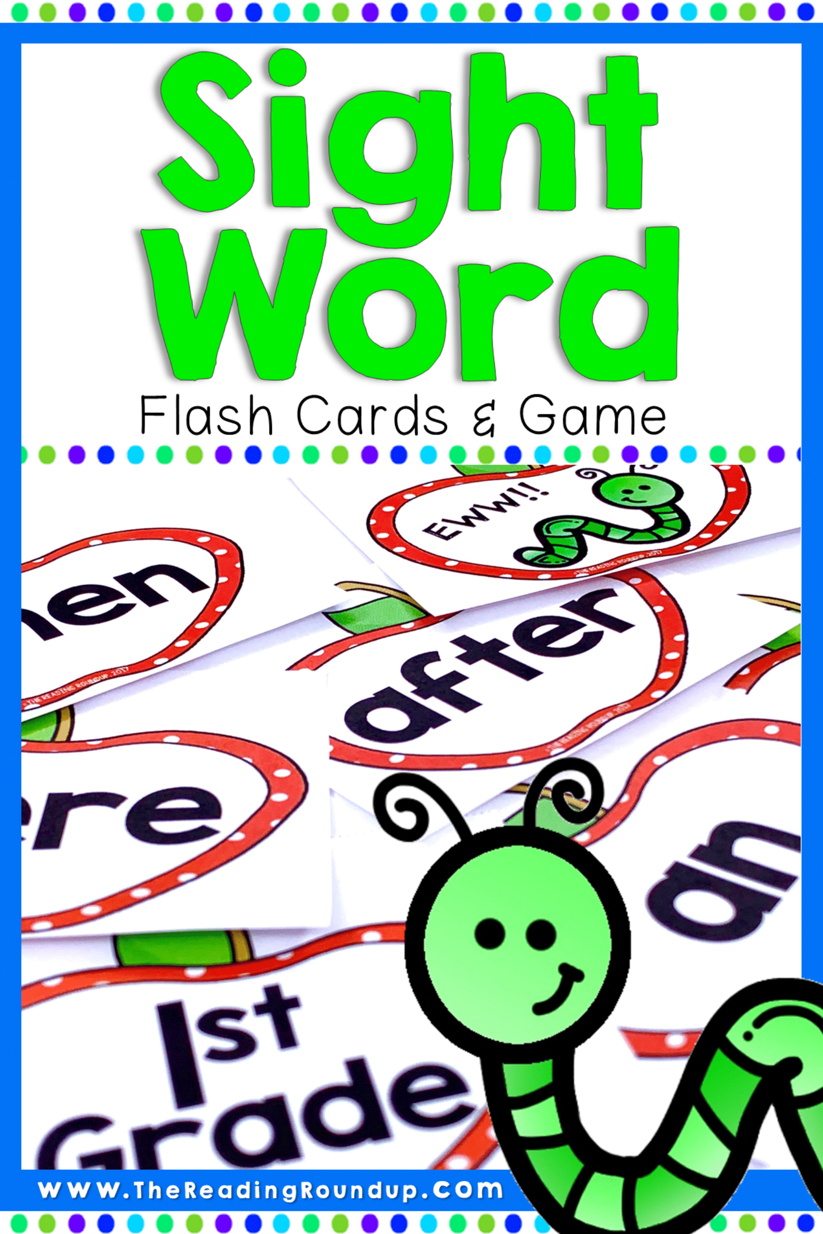 Apple Themed Sight Word Flash Cards & Game September