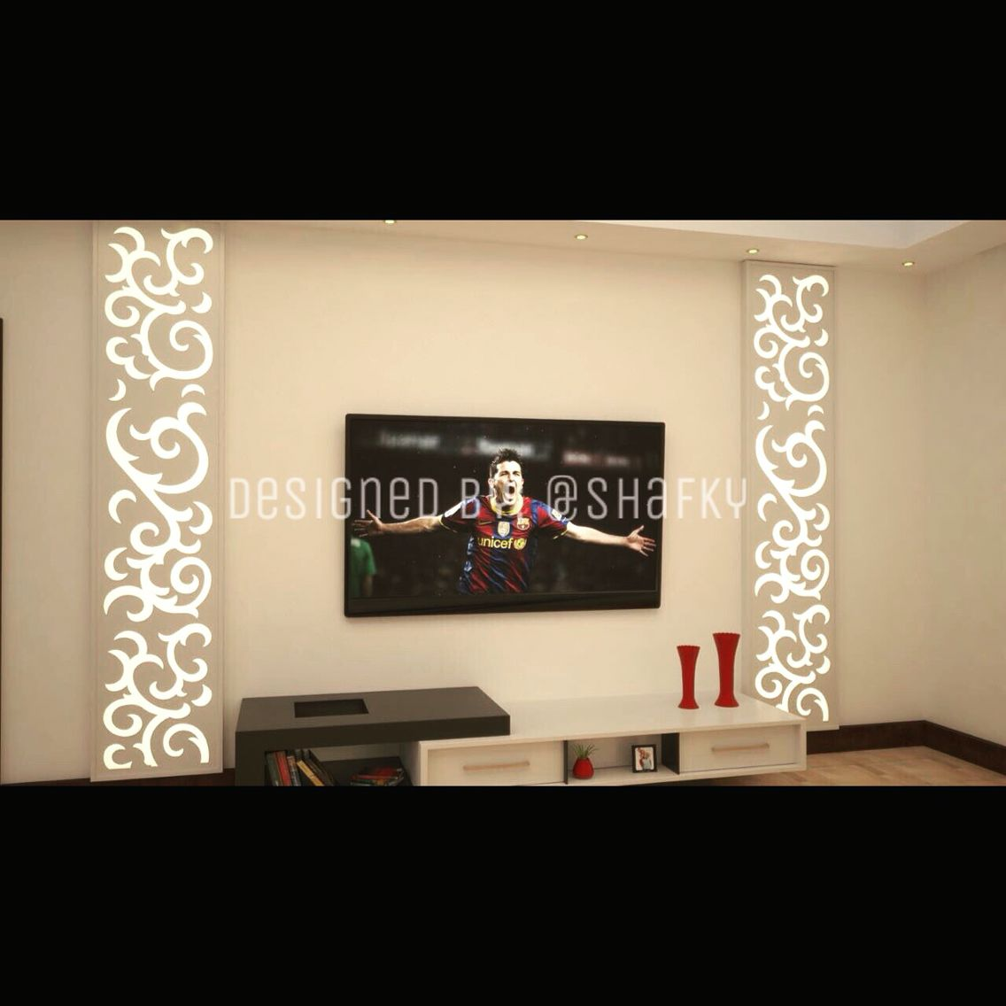 Tv Wall Design With Wooden Boxed Shape Acrylic U0026 Wooden CNC Design On The  Top With
