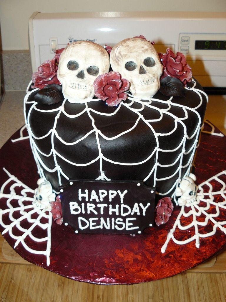 skull birthday cakes   Halloween Skull & Roses Birthday Cake