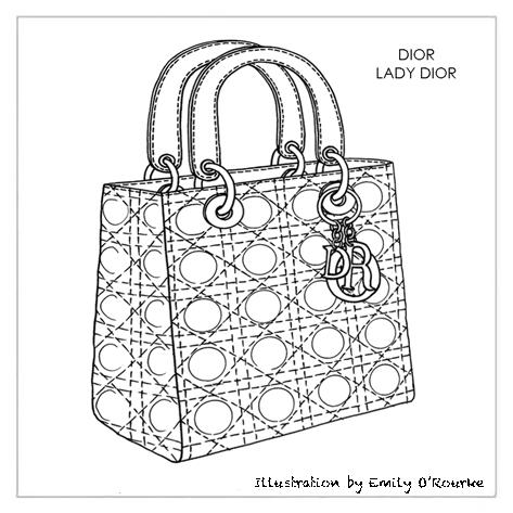 Dior Lady Bag Designer Handbag Illustration Sketch Drawing Cad Borsa Disegno