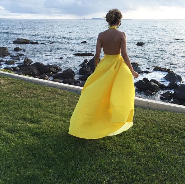 3768fa3e6 Silk Faille Halter Gown with Bow Convertible Skirt | Hello Summer ...