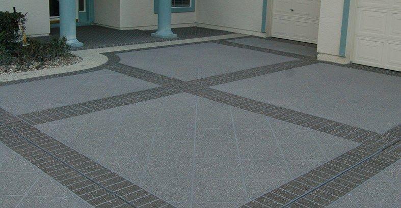 Concrete Driveway Stenciled Brick Bands Site Custom Ram