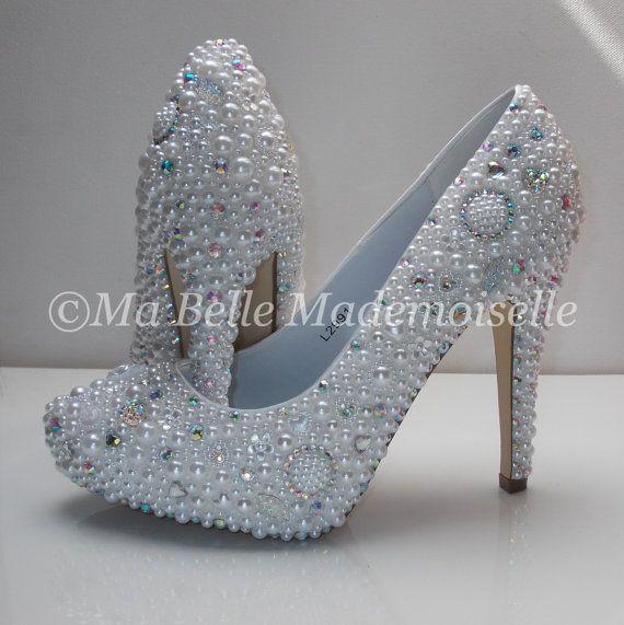 Cinderella Pearl Crystal Shoes Wedding Shoes Bridal Shoes